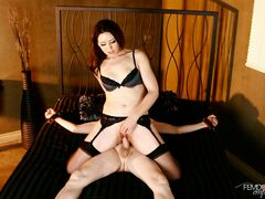 Mistress Sarah Shevon uses sex slave